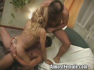 Tranny obtiene doble anal follada