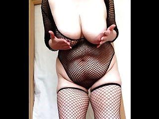 Sexy granny fishnets slapping grandes tetas y el coño