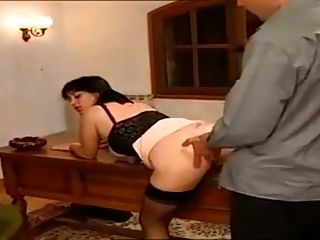 Vintage francés maduro en negro medias anal