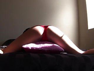 Chica morena sexy humping almohada en bragas rojas