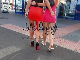 4 chicas sexy muestran cómo caminar en tacones altos primera vez