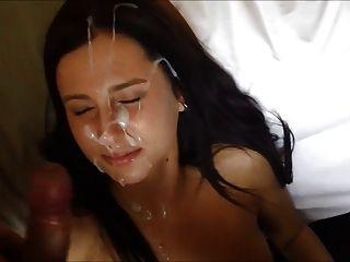 Hecho en casa, cargas de esperma en su cara (primera vez)