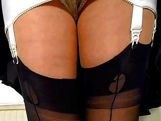 faja con medias de nylon cosidas