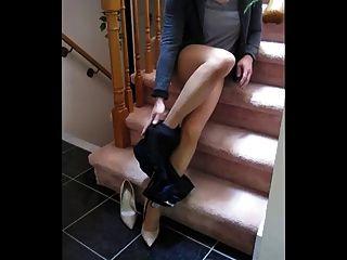 Cd amateur acariciando en pantyhose