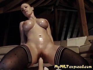 mi esposa expuesta sexy medias afeitado coño y juguete grande