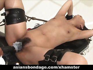 asiático babe bond y fuckd por una puta máquina