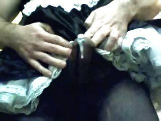 transexual francés polla puta cumshot en medias pantyhose negro
