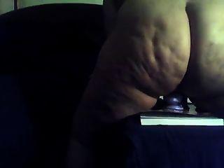 gordo culo negro montar un consolador azul grande