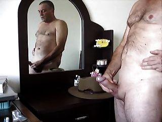 masturbándose delante del espejo y cum
