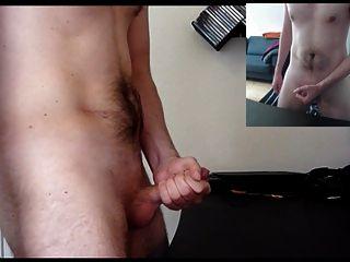 masturbándose con un montón de semen (doble vista y gimiendo)
