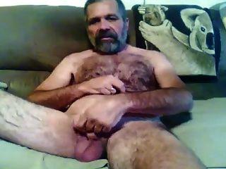 peludo, barbudo, papá, Demostración, apagado, cámara