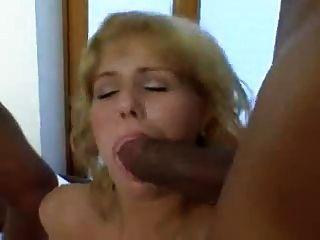 czech blonde loves interracial gangbang