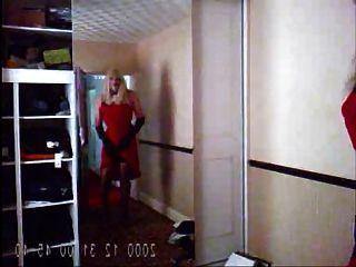 sexy vestido rojo y lencería