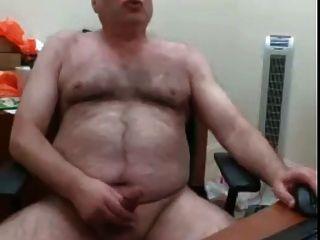 webcam peludo oso papá sacude su carga sobre su escritorio