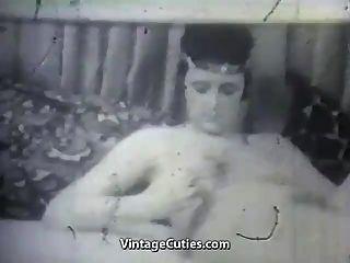 madura, dama, ella, vibrador, niño, (1950s, vendimia)
