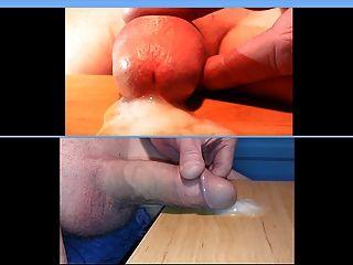 acariciando mi polla y semen tiro muy cerca
