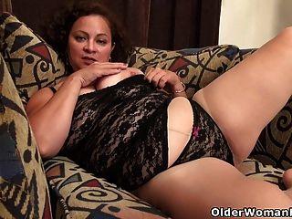 milf americano marie negro ama dildoing su coño nyloned