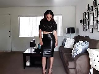 falda de cuero cari