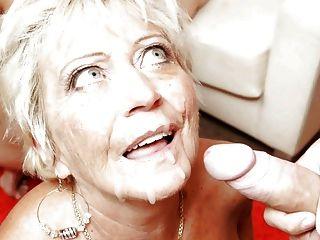 Abuela ama polla y semen