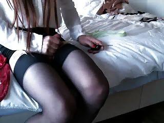 corrida en mis medias de seda y medias