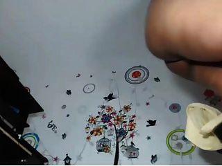 colombiana bbw jugando en la webcam con un consolador