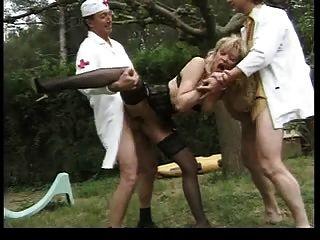 rubia francesa señora doble anal