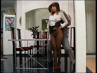 jefe folla secretaria en pantimedias