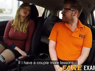 Curvy uk skank madison stuart golpeó en auto de escuela de conducción