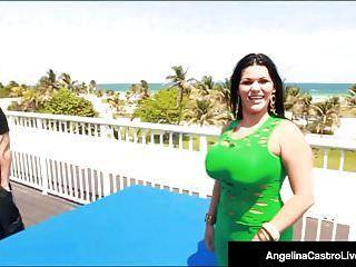 Curvy cubana angelina castro es coño golpeado en el techo del hotel