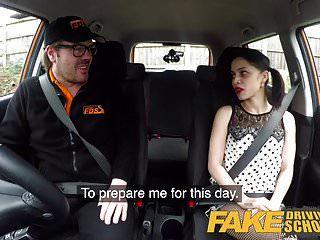 escuela de conducción falsa áspero asiento trasero joder para petite principiante
