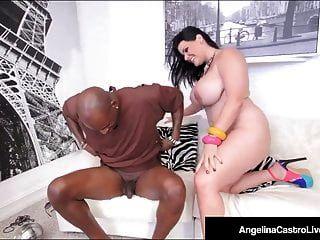 ¡La cubana bbw angelina castro se sienta en una gran polla negra para una venta!